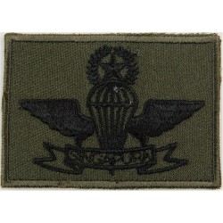 Singapore Master Parachute Wings - Black Lettering Black/Olive Rectangl  Embroidered Parachute jump wings or badge