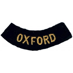 Oxford (Curved Chest Title) Yellow On Dark Blue  Embroidered Civil Defence
