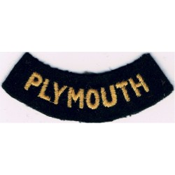 Plymouth (Curved Chest Title) Yellow On Dark Blue  Embroidered Civil Defence