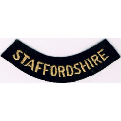 Staffordshire (Curved Chest Title) Yellow On Dark Blue  Embroidered Civil Defence