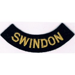 Swindon (Curved Chest Title) Yellow On Dark Blue  Embroidered Civil Defence