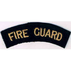 Fire Guard (Shoulder Title) Yellow On Dark Blue  Embroidered Civil Defence