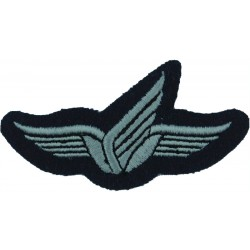 Greece Senior Parachute Wings - Subdued Black On Olive Green  Embroidered Parachute jump wings or badge