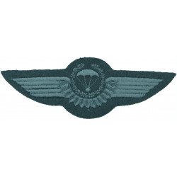 Greece Parachute Rigger Wings Black On Olive  Embroidered Parachute jump wings or badge
