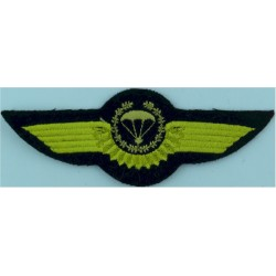 Greece Master Parachute Wings - Subdued Black On Olive Green  Embroidered Parachute jump wings or badge