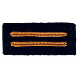 Civil Defence Rank Badge - Two Narrow Bars Yellow On Dark Blue  Braid Civil Defence