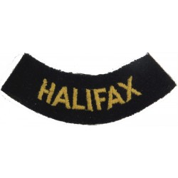 Halifax (Curved Chest Title) Yellow On Dark Blue  Embroidered Civil Defence