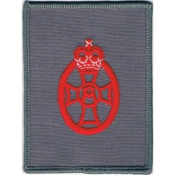 QA Royal Army Nursing Corps  Ward Uniform Badge Red On Grey with Queen Elizabeth's Crown. Embroidered