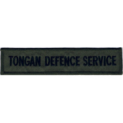 Tongan Defence Service - Black Letters On Olive Rectangle  Embroidered