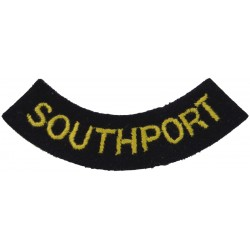 Southport (Curved Chest Title) Yellow On Dark Blue  Embroidered Civil Defence