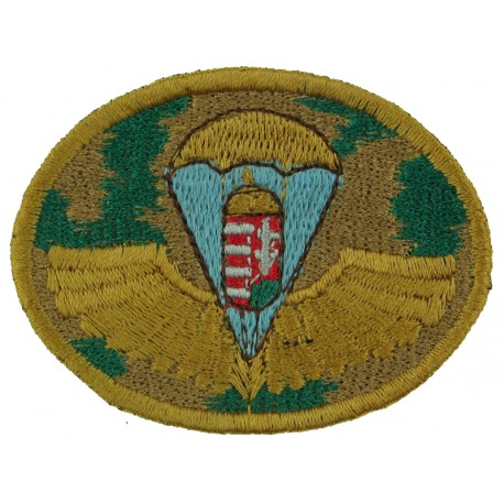 Hungarian LRRP Airborne Beret Badge - On Camouflage Officers' Field Patt  Embroidered Airborne or Special Forces insignia