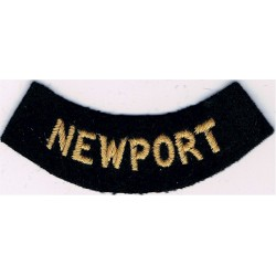 Newport (Curved Chest Title) Yellow On Dark Blue  Embroidered Civil Defence