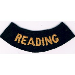 Reading (Curved Chest Title) Yellow On Dark Blue  Embroidered Civil Defence