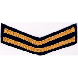 Civil Defence Rank Badge - Double Chevron Yellow On Dark Blue  Braid Civil Defence