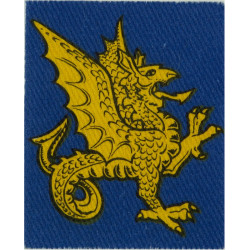 South West District (Yellow Wyvern On Mid-Blue) FR - 3rd Pattern  Printed Military Formation arm badge