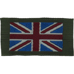 Union Jack (for Combat Jacket/ Brassard- 36mm X 21mm On Green Surround  Woven Military Formation arm badge