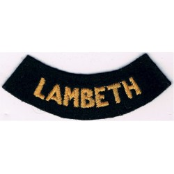Lambeth (Curved Chest Title) - Small Yellow On Dark Blue  Embroidered Civil Defence