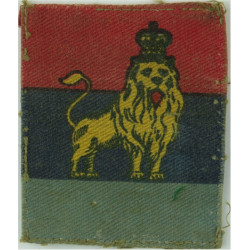 British Troops Egypt (Lion On Red/ Navy/ Sky Blue) FR with Queen Elizabeth's Crown. Printed Military Formation arm badge