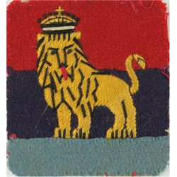 British Troops Egypt (Lion On Red/ Navy/ Sky Blue) FL with King's Crown. Embroidered Military Formation arm badge