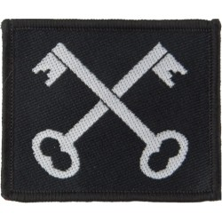 2nd Division (White Crossed Keys On Black) Merrowed  Woven Military Formation arm badge