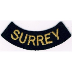 Surrey (Curved Chest Title) Yellow On Dark Blue  Embroidered Civil Defence