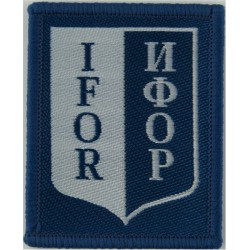 IFOR Armbadge (Shield On 57mm X 46mm Rectangle) Blue/White  Woven Military Formation arm badge