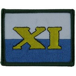 11 (ARRC) Signal Brigade XI On White / Blue  Embroidered Military Formation arm badge