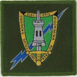 Central Region Signal Group (AFCENT Shield/Lightning On Olive Square  Woven Military Formation arm badge
