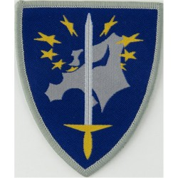 EuroCorps Armbadge - Sword & Stars On Map Of Europe On Blue Shield  Woven Military Formation arm badge