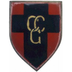 Control Commission Germany    (Gold CCG / Blue Cross On Small Red Shield)  Enamel Lapel or sweet-heart badge