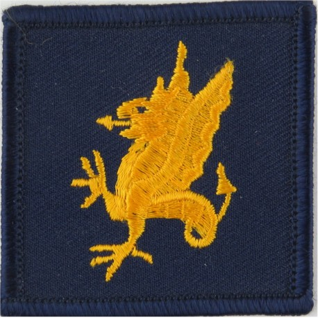 43 Brigade (Yellow Wyvern On Navy Blue Square)   Embroidered Military Formation arm badge