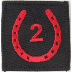 2 (National Communications) Signal Brigade Red 2 In Horseshoe  Embroidered Military Formation arm badge