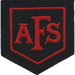 AFS (Auxiliary Fire Service) In Red Shield - 1938-41 Red On Black  Embroidered Fire and Rescue Service insignia