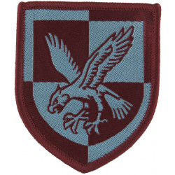 16 Air Assault Brigade - Eagle On Quartered Shield Sky Blue On Maroon  Woven Military Formation arm badge