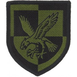 16 Air Assault Brigade - Eagle On Quartered Shield Black On Olive Green  Woven Military Formation arm badge