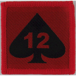 12 Mechanized Brigade - 12 On Ace Of Spades On Red Square  Woven Military Formation arm badge