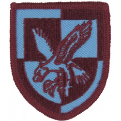 HJV (Hjemmevaernet) Danish Home Guard Crest On Black Woven Military Formation arm badge