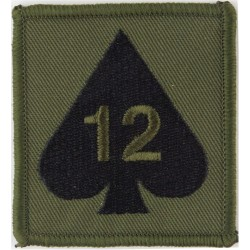 12 Mechanized Brigade - 12 On Ace Of Spades On Olive Square  Embroidered Military Formation arm badge