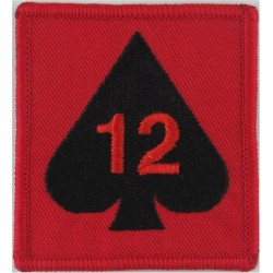 12 Mechanized Brigade - 12 On Ace Of Spades On Red Square  Embroidered Military Formation arm badge