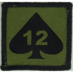 12 Mechanized Brigade - 12 On Ace Of Spades On Olive Square  Woven Military Formation arm badge