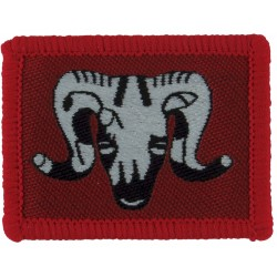 1st Artillery Brigade (Ram's Head On Red Rectangle)   Woven Military Formation arm badge