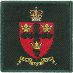 Headquarters Colchester Garrison Crest On Square with Queen Elizabeth's Crown. Woven Military Formation arm badge