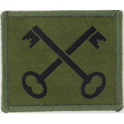 2nd Division (Black Crossed Keys On Olive) New Issue - Merrowed  Woven Military Formation arm badge