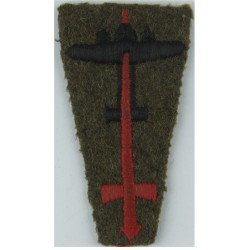 London District (Mural Crown, Red Sword On Black) Square - Modern  Woven Military Formation arm badge