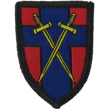 Cyprus Operational Support Unit (COSU/ Cyprus Map On Navy/ Red/ Sky Blue)  Embroidered Military Formation arm badge