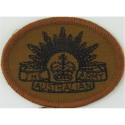 Australian Army 'Rising Sun' On Brown Oval with Queen Elizabeth's Crown. Embroidered Military Formation arm badge
