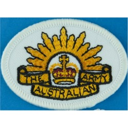 Australian Army 'Rising Sun' On White Oval with Queen Elizabeth's Crown. Embroidered Military Formation arm badge