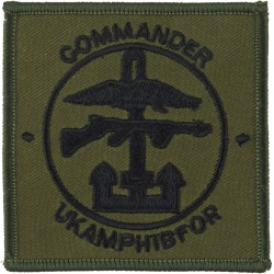 Commander UK Amphibious Forces Black On Olive  Embroidered Military Formation arm badge