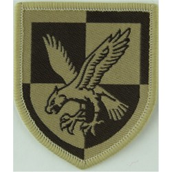 16 Air Assault Brigade - Eagle On Quartered Shield Brown On Sand Desert  Woven Military Formation arm badge