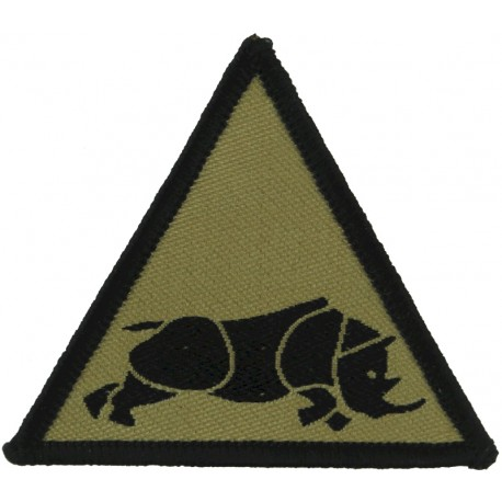1 (UK) Armoured Division (Charging Rhino In Triangle Black On Sand Desert  Woven Military Formation arm badge